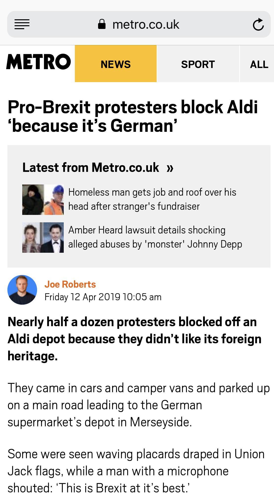 Screenshot of the same Metro.co.uk article loaded in Mobile Safari